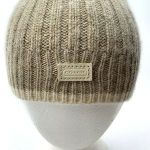 Coach Beanie Hat Wool Cashmere Blend Tan Soft
